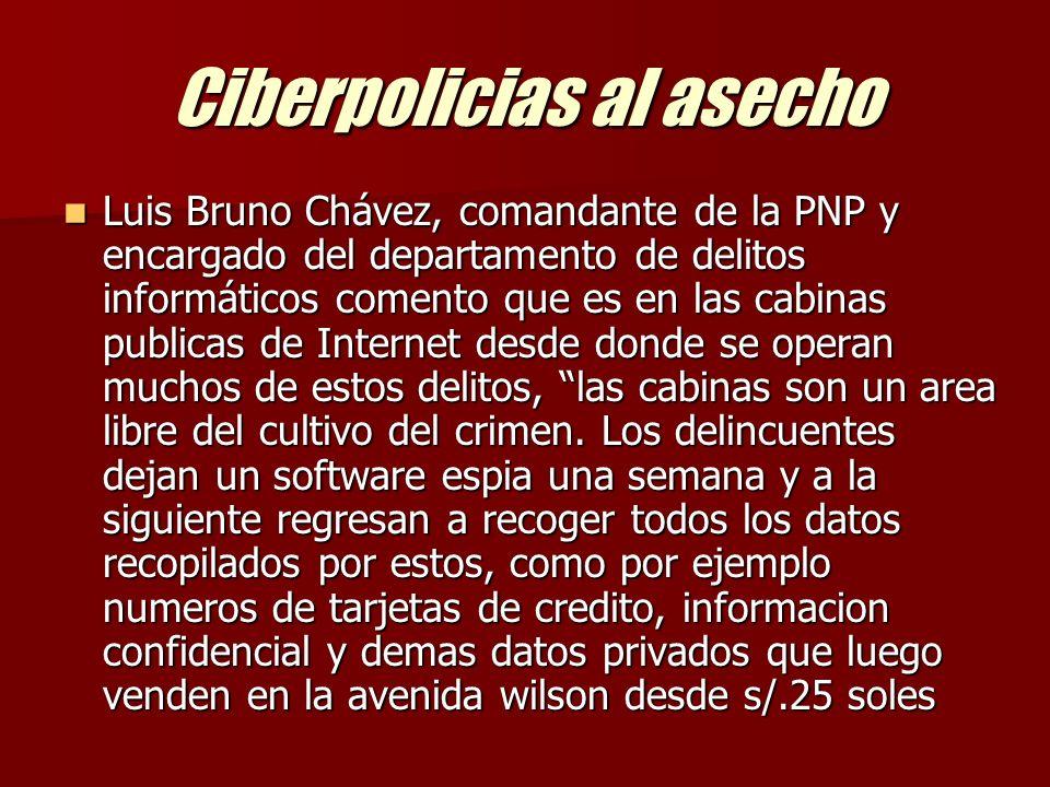 Ciberpolicias al asecho Luis Bruno Chávez, comandante de la PNP y encargado del departamento de delitos informáticos comento que es en las cabinas publicas de Internet desde donde se operan muchos de estos delitos, las cabinas son un area libre del cultivo del crimen.