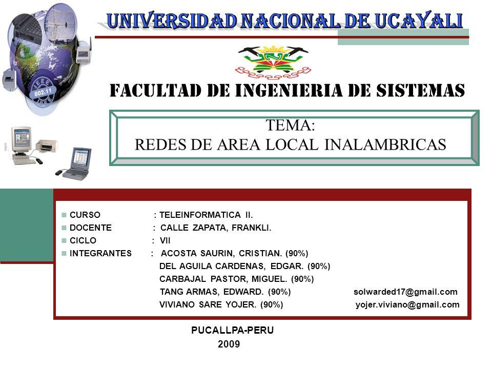 TEMA: REDES DE AREA LOCAL INALAMBRICAS FACULTAD DE INGENIERIA DE SISTEMAS CURSO : TELEINFORMATICA II. DOCENTE : CALLE ZAPATA, FRANKLI. CICLO : VII INT