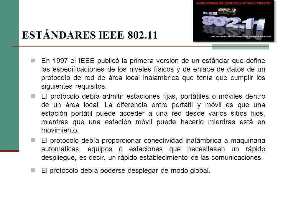 ESTÁNDARES IEEE 802.11 En 1997 el IEEE publicó la primera versión de un estándar que define las especificaciones de los niveles físicos y de enlace de datos de un protocolo de red de área local inalámbrica que tenía que cumplir los siguientes requisitos: El protocolo debía admitir estaciones fijas, portátiles o móviles dentro de un área local.