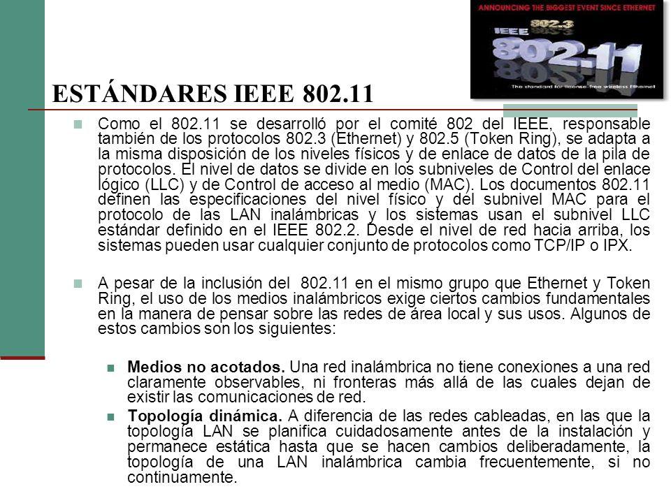 Como el 802.11 se desarrolló por el comité 802 del IEEE, responsable también de los protocolos 802.3 (Ethernet) y 802.5 (Token Ring), se adapta a la misma disposición de los niveles físicos y de enlace de datos de la pila de protocolos.