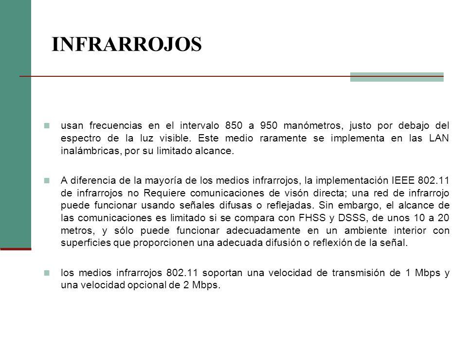 INFRARROJOS usan frecuencias en el intervalo 850 a 950 manómetros, justo por debajo del espectro de la luz visible. Este medio raramente se implementa