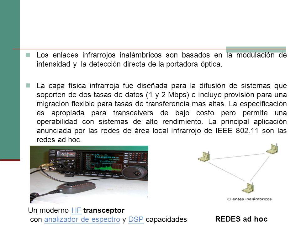 Los enlaces infrarrojos inalámbricos son basados en la modulación de intensidad y la detección directa de la portadora óptica. La capa física infrarro
