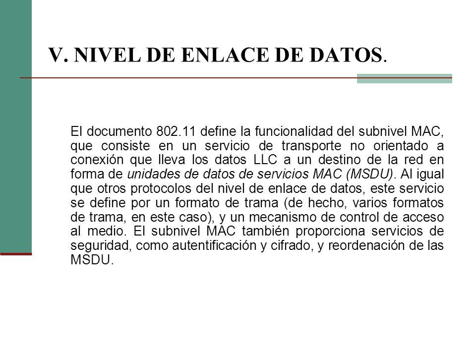 V. NIVEL DE ENLACE DE DATOS. El documento 802.11 define la funcionalidad del subnivel MAC, que consiste en un servicio de transporte no orientado a co