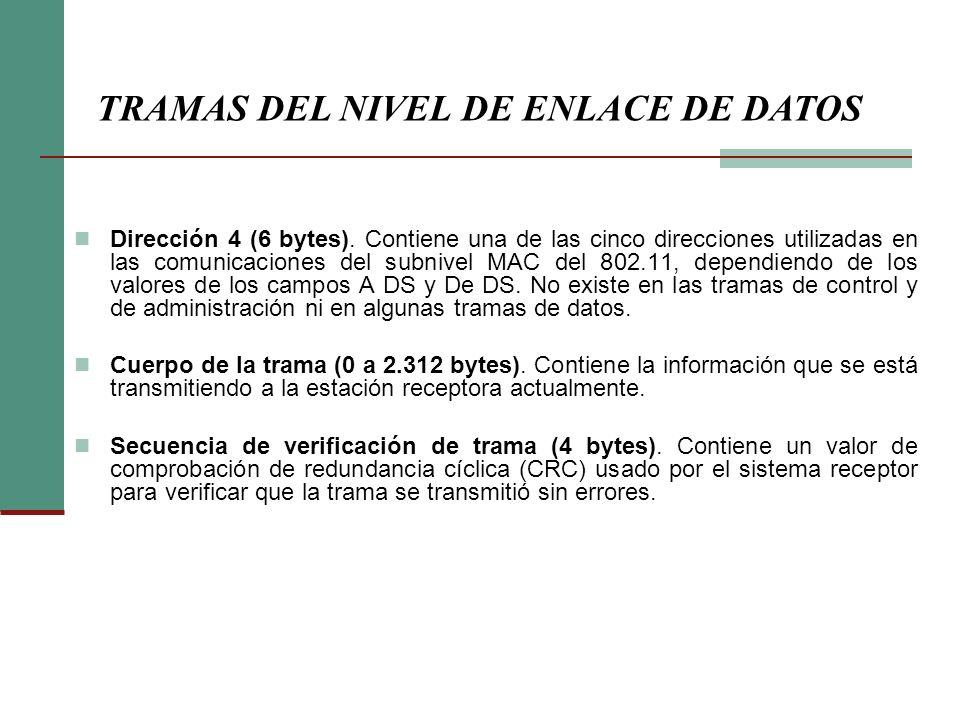 Dirección 4 (6 bytes). Contiene una de las cinco direcciones utilizadas en las comunicaciones del subnivel MAC del 802.11, dependiendo de los valores