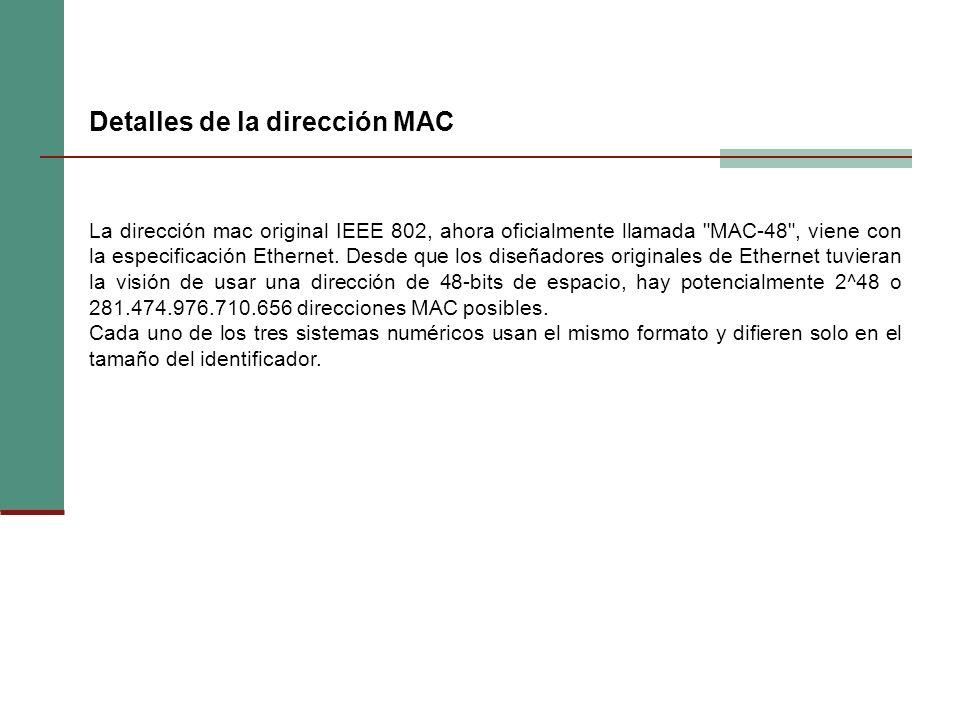 La dirección mac original IEEE 802, ahora oficialmente llamada MAC-48 , viene con la especificación Ethernet.