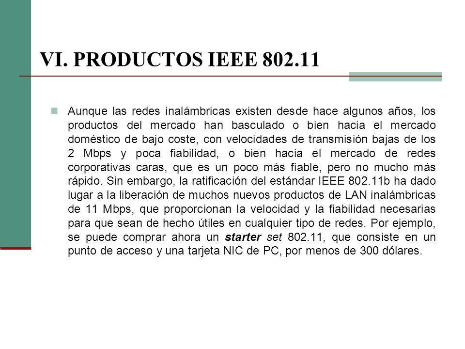 VI. PRODUCTOS IEEE 802.11 Aunque las redes inalámbricas existen desde hace algunos años, los productos del mercado han basculado o bien hacia el merca