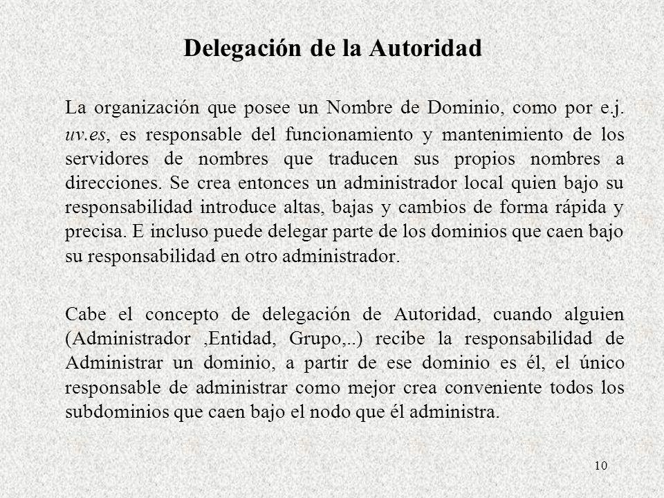 10 Delegación de la Autoridad La organización que posee un Nombre de Dominio, como por e.j. uv.es, es responsable del funcionamiento y mantenimiento d