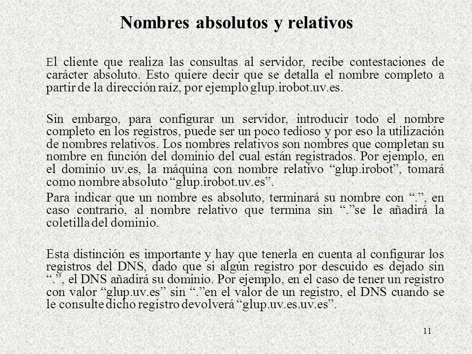 11 Nombres absolutos y relativos E l cliente que realiza las consultas al servidor, recibe contestaciones de carácter absoluto. Esto quiere decir que