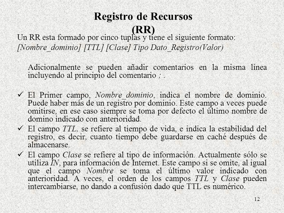 12 Registro de Recursos (RR) Un RR esta formado por cinco tuplas y tiene el siguiente formato: [Nombre_dominio] [TTL] [Clase] Tipo Dato_Registro(Valor