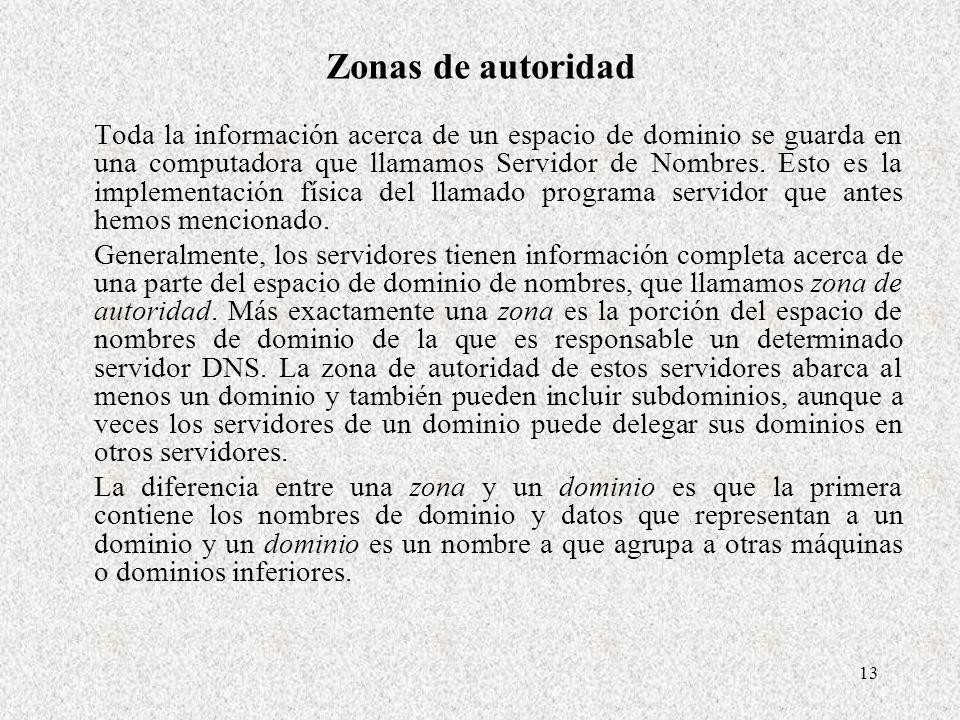 13 Zonas de autoridad Toda la información acerca de un espacio de dominio se guarda en una computadora que llamamos Servidor de Nombres. Esto es la im