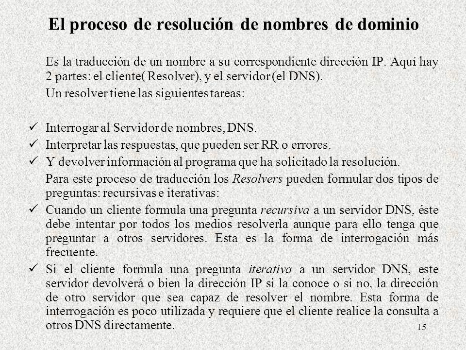 15 El proceso de resolución de nombres de dominio Es la traducción de un nombre a su correspondiente dirección IP. Aquí hay 2 partes: el cliente( Reso