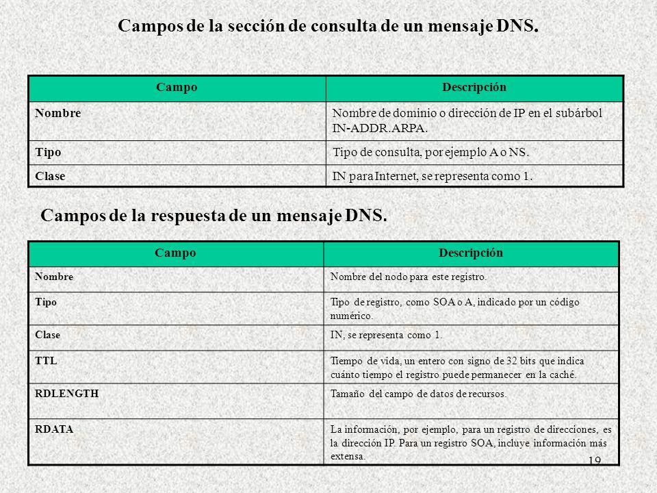 19 Campos de la sección de consulta de un mensaje DNS. CampoDescripción NombreNombre de dominio o dirección de IP en el subárbol IN-ADDR.ARPA. TipoTip