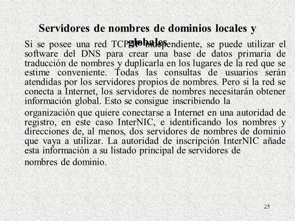 25 Servidores de nombres de dominios locales y globales Si se posee una red TCP/IP independiente, se puede utilizar el software del DNS para crear una