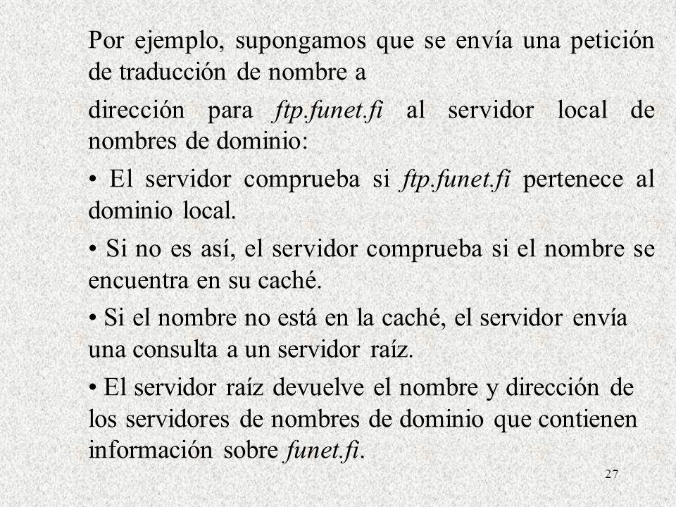 27 Por ejemplo, supongamos que se envía una petición de traducción de nombre a dirección para ftp.funet.fi al servidor local de nombres de dominio: El
