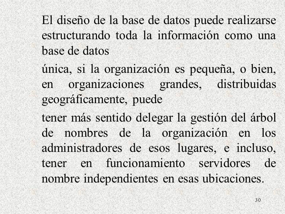30 El diseño de la base de datos puede realizarse estructurando toda la información como una base de datos única, si la organización es pequeña, o bie