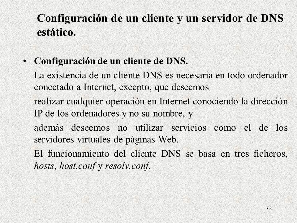 32 Configuración de un cliente y un servidor de DNS estático. Configuración de un cliente de DNS. La existencia de un cliente DNS es necesaria en todo