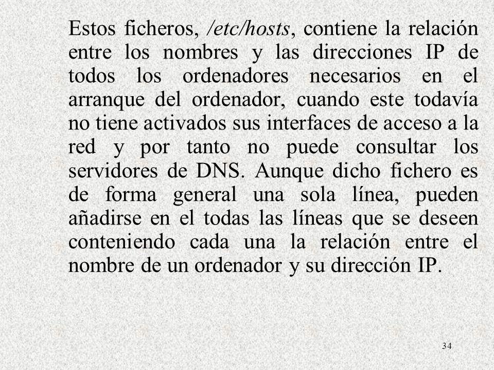 34 Estos ficheros, /etc/hosts, contiene la relación entre los nombres y las direcciones IP de todos los ordenadores necesarios en el arranque del orde