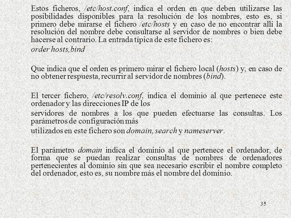 35 Estos ficheros, /etc/host.conf, indica el orden en que deben utilizarse las posibilidades disponibles para la resolución de los nombres, esto es, s