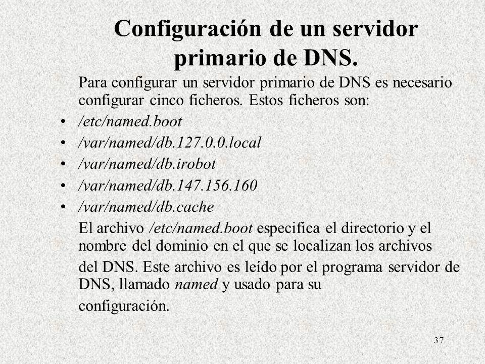 37 Configuración de un servidor primario de DNS. Para configurar un servidor primario de DNS es necesario configurar cinco ficheros. Estos ficheros so