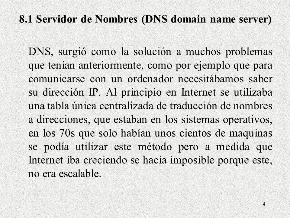 4 8.1 Servidor de Nombres (DNS domain name server) DNS, surgió como la solución a muchos problemas que tenían anteriormente, como por ejemplo que para