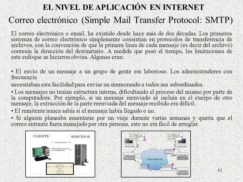 41 Correo electrónico (Simple Mail Transfer Protocol: SMTP) El correo electrónico o email, ha existido desde hace más de dos décadas. Los primeros sis