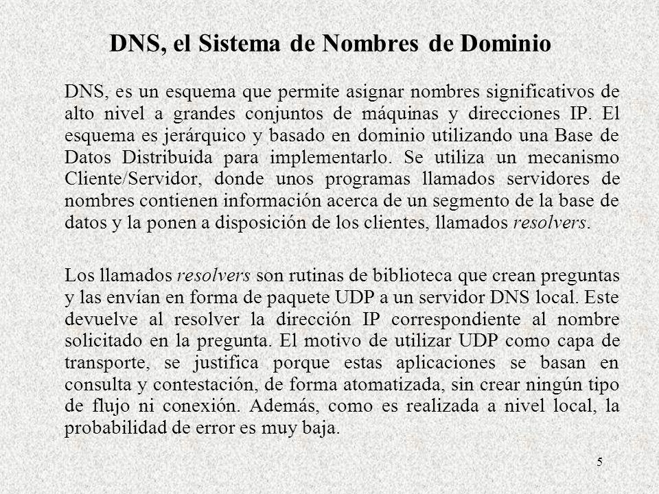 5 DNS, el Sistema de Nombres de Dominio DNS, es un esquema que permite asignar nombres significativos de alto nivel a grandes conjuntos de máquinas y