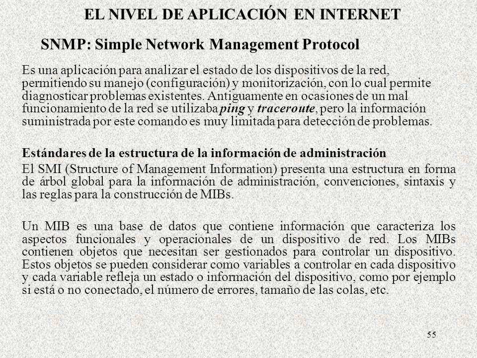 55 SNMP: Simple Network Management Protocol Es una aplicación para analizar el estado de los dispositivos de la red, permitiendo su manejo (configurac