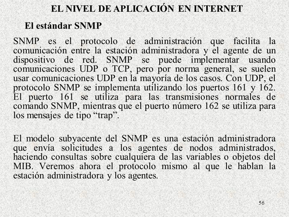 56 El estándar SNMP SNMP es el protocolo de administración que facilita la comunicación entre la estación administradora y el agente de un dispositivo