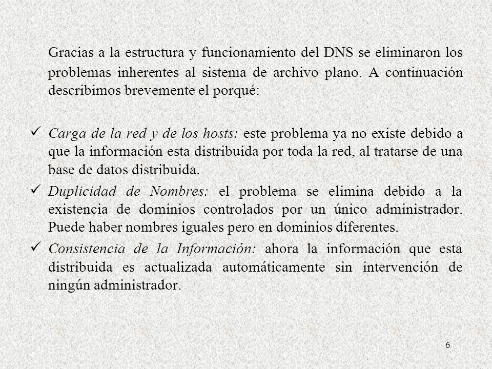 6 Gracias a la estructura y funcionamiento del DNS se eliminaron los problemas inherentes al sistema de archivo plano. A continuación describimos brev