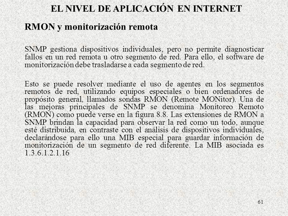 61 RMON y monitorización remota SNMP gestiona dispositivos individuales, pero no permite diagnosticar fallos en un red remota u otro segmento de red.