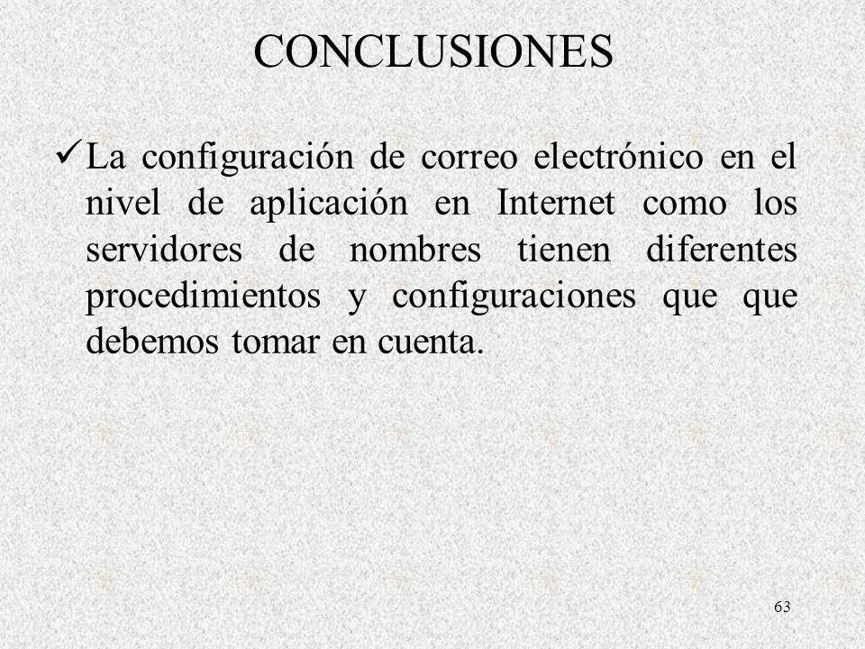 63 CONCLUSIONES La configuración de correo electrónico en el nivel de aplicación en Internet como los servidores de nombres tienen diferentes procedim