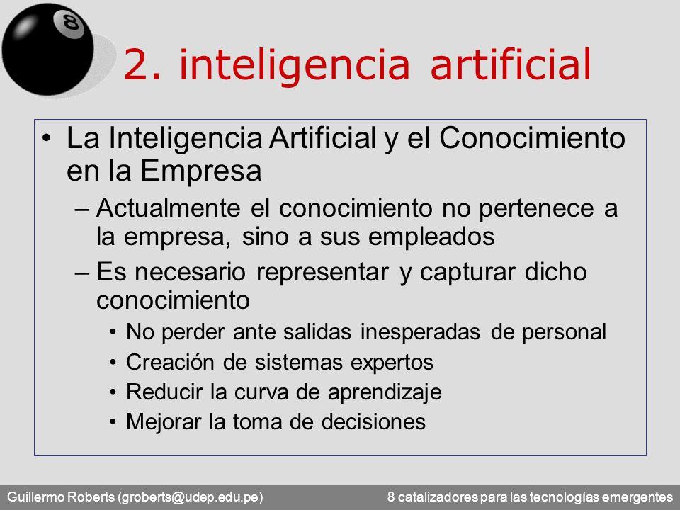 Guillermo Roberts (groberts@udep.edu.pe) 8 catalizadores para las tecnologías emergentes 2. inteligencia artificial La Inteligencia Artificial y el Co