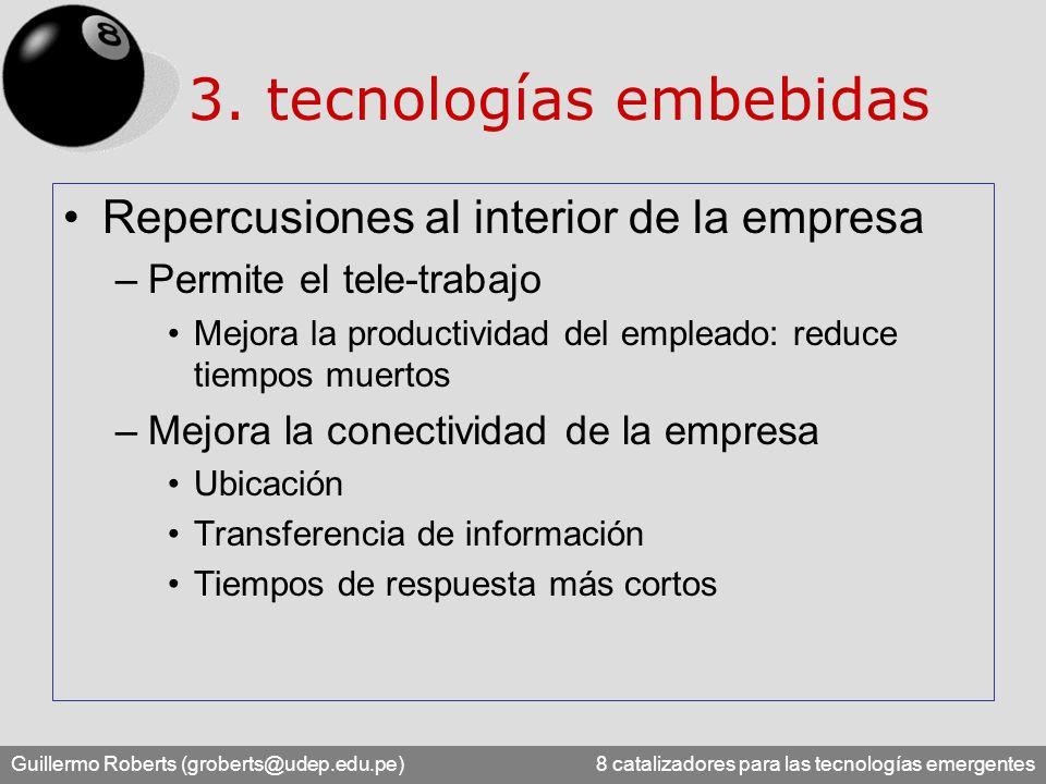 Guillermo Roberts (groberts@udep.edu.pe) 8 catalizadores para las tecnologías emergentes 3. tecnologías embebidas Repercusiones al interior de la empr