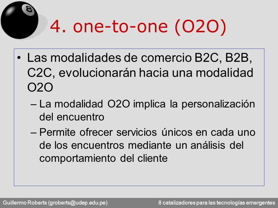 Guillermo Roberts (groberts@udep.edu.pe) 8 catalizadores para las tecnologías emergentes 4. one-to-one (O2O) Las modalidades de comercio B2C, B2B, C2C