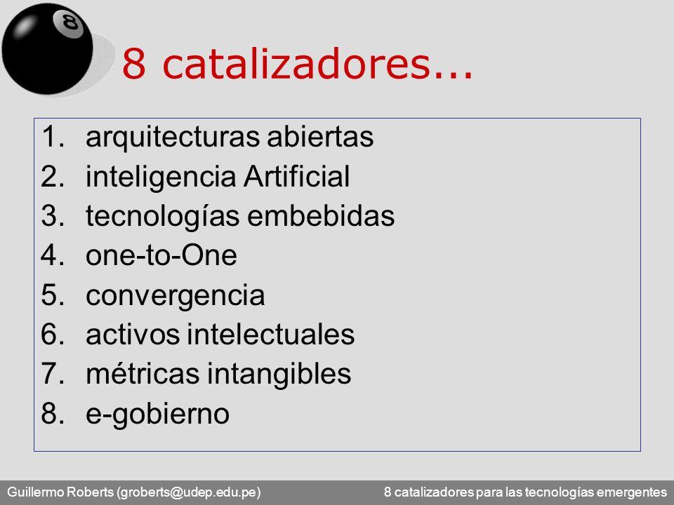 Guillermo Roberts (groberts@udep.edu.pe) 8 catalizadores para las tecnologías emergentes 8 catalizadores... 1.arquitecturas abiertas 2.inteligencia Ar