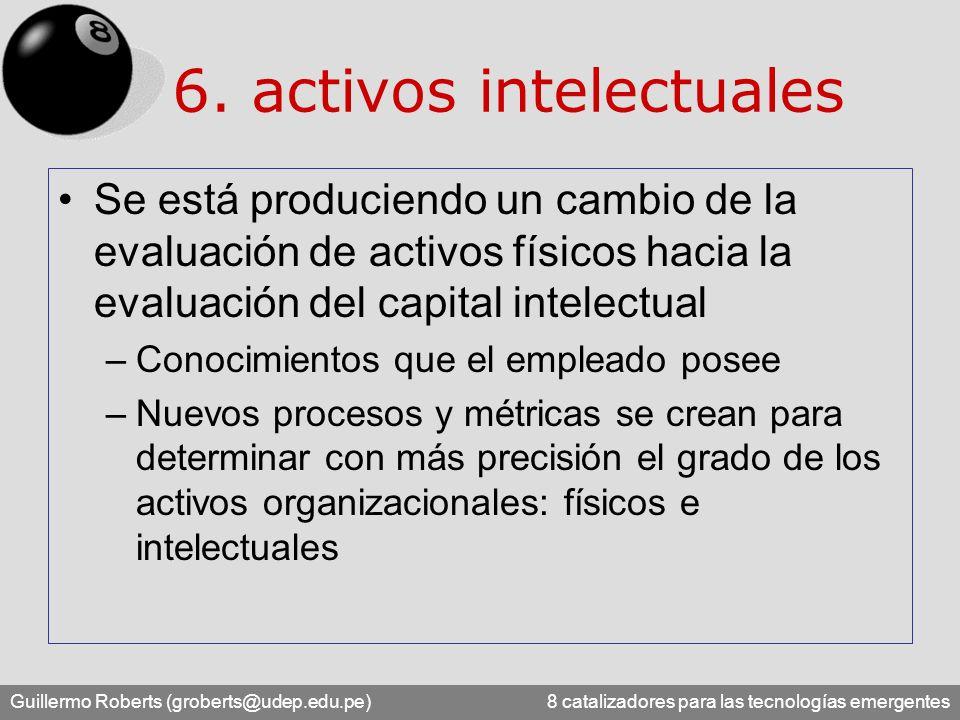 Guillermo Roberts (groberts@udep.edu.pe) 8 catalizadores para las tecnologías emergentes 6. activos intelectuales Se está produciendo un cambio de la