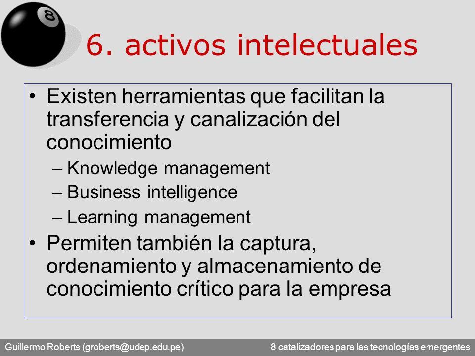Guillermo Roberts (groberts@udep.edu.pe) 8 catalizadores para las tecnologías emergentes 6. activos intelectuales Existen herramientas que facilitan l