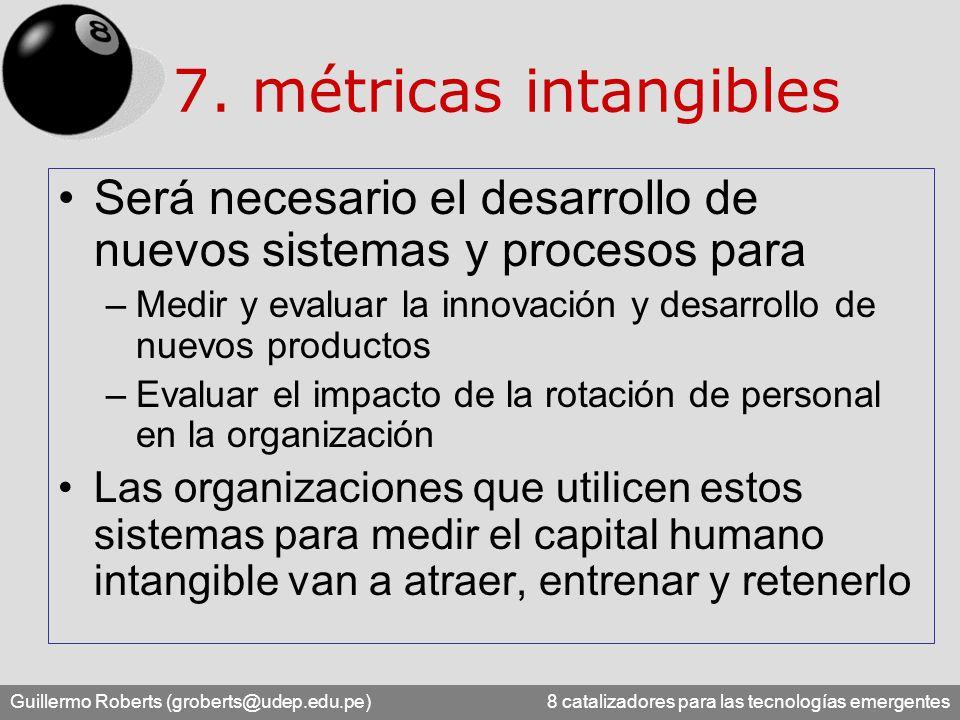 Guillermo Roberts (groberts@udep.edu.pe) 8 catalizadores para las tecnologías emergentes 7. métricas intangibles Será necesario el desarrollo de nuevo