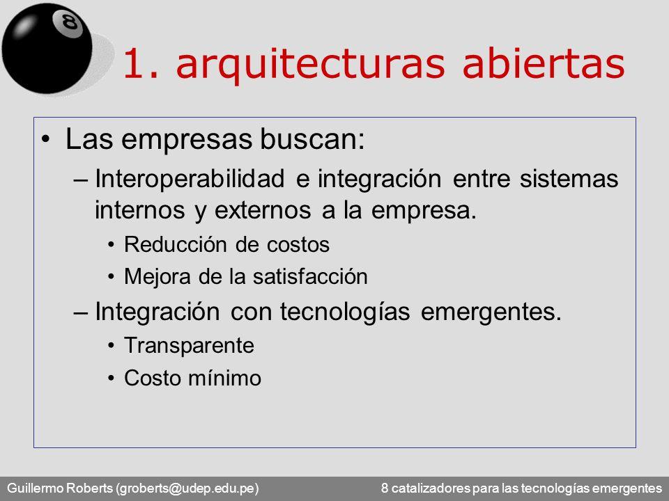 Guillermo Roberts (groberts@udep.edu.pe) 8 catalizadores para las tecnologías emergentes Integración basada en estándares –Java –XML –Web Services –.NET –entre otros...