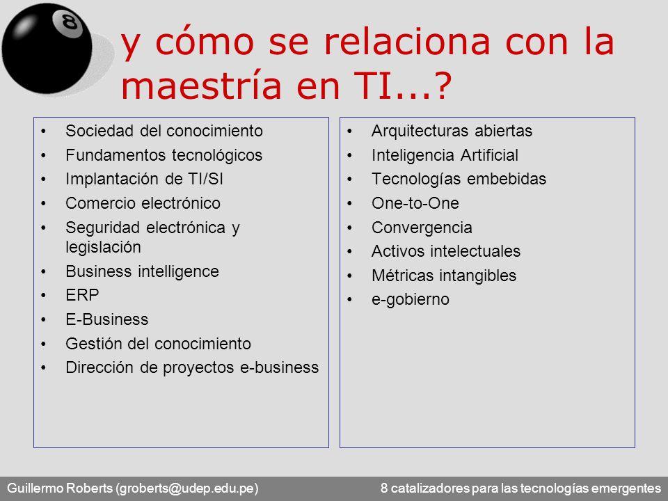 Guillermo Roberts (groberts@udep.edu.pe) 8 catalizadores para las tecnologías emergentes y cómo se relaciona con la maestría en TI...? Sociedad del co
