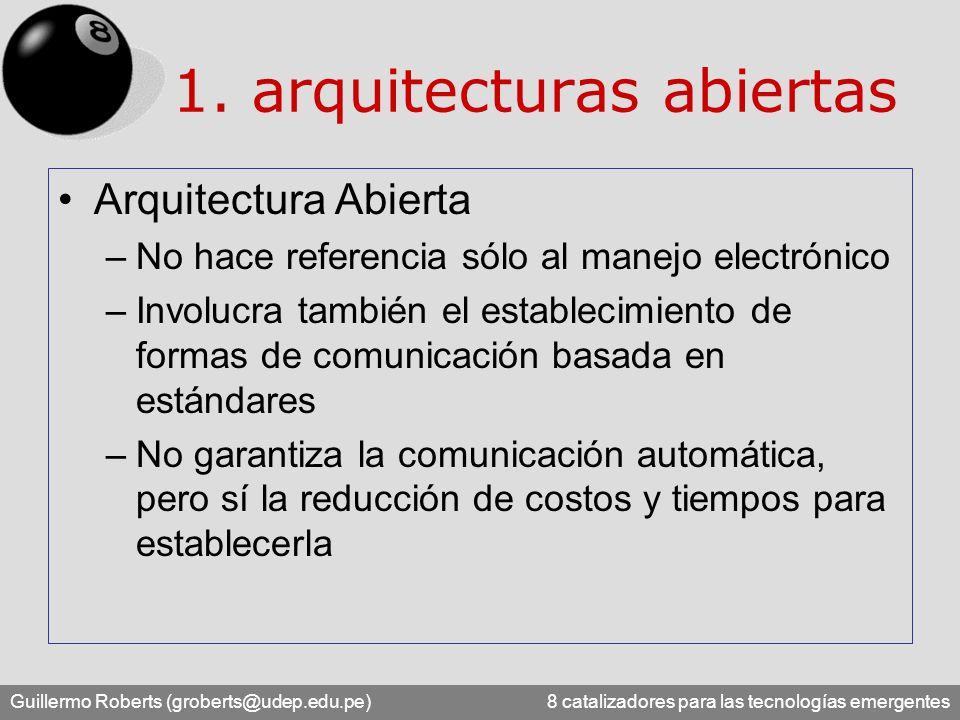 Guillermo Roberts (groberts@udep.edu.pe) 8 catalizadores para las tecnologías emergentes Arquitectura Abierta –No hace referencia sólo al manejo elect