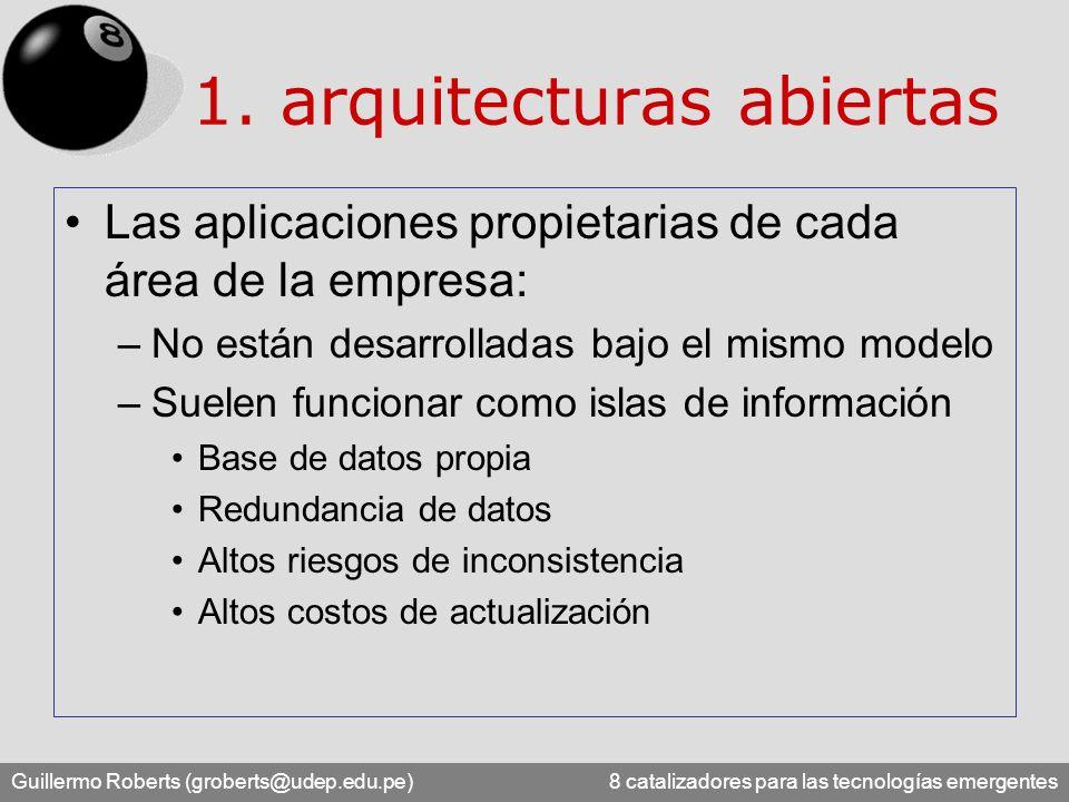 Guillermo Roberts (groberts@udep.edu.pe) 8 catalizadores para las tecnologías emergentes Las aplicaciones propietarias de cada área de la empresa: –No