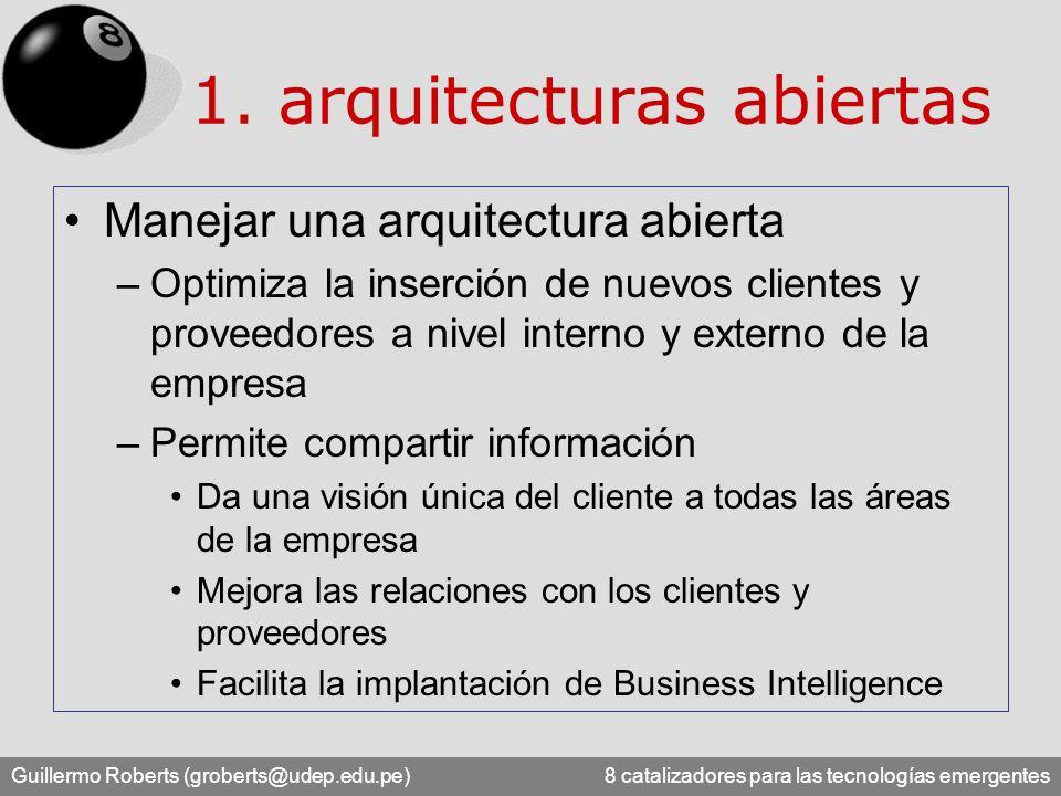 Guillermo Roberts (groberts@udep.edu.pe) 8 catalizadores para las tecnologías emergentes Manejar una arquitectura abierta –Optimiza la inserción de nu