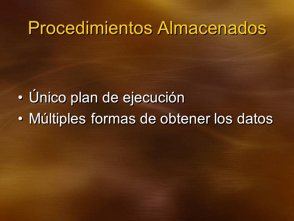 Procedimientos Almacenados Único plan de ejecución Múltiples formas de obtener los datos Único plan de ejecución Múltiples formas de obtener los datos