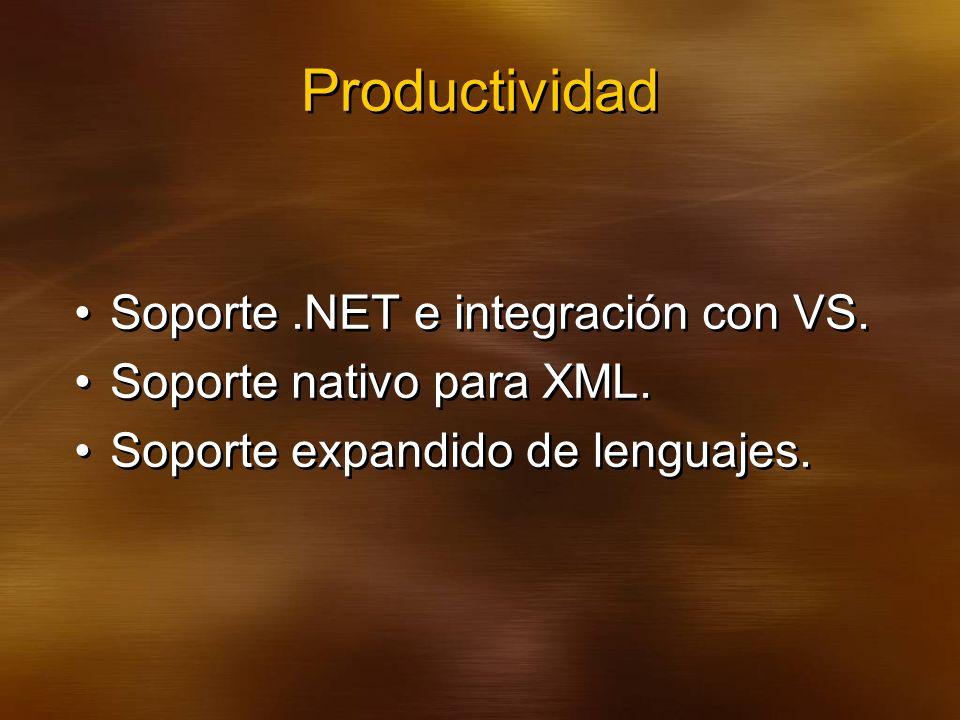 Productividad Soporte.NET e integración con VS. Soporte nativo para XML.