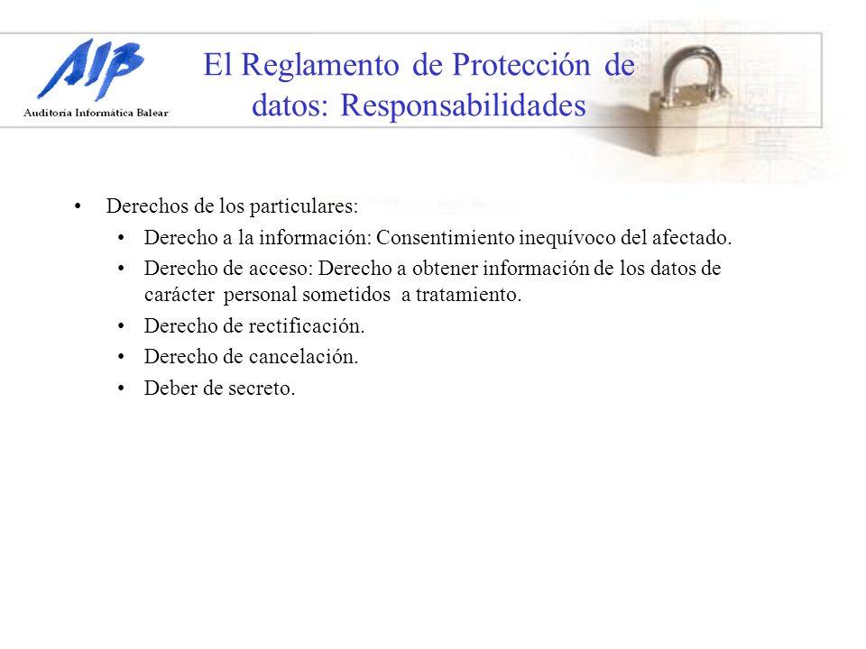 El Reglamento de Protección de datos: Responsabilidades Derechos de los particulares: Derecho a la información: Consentimiento inequívoco del afectado