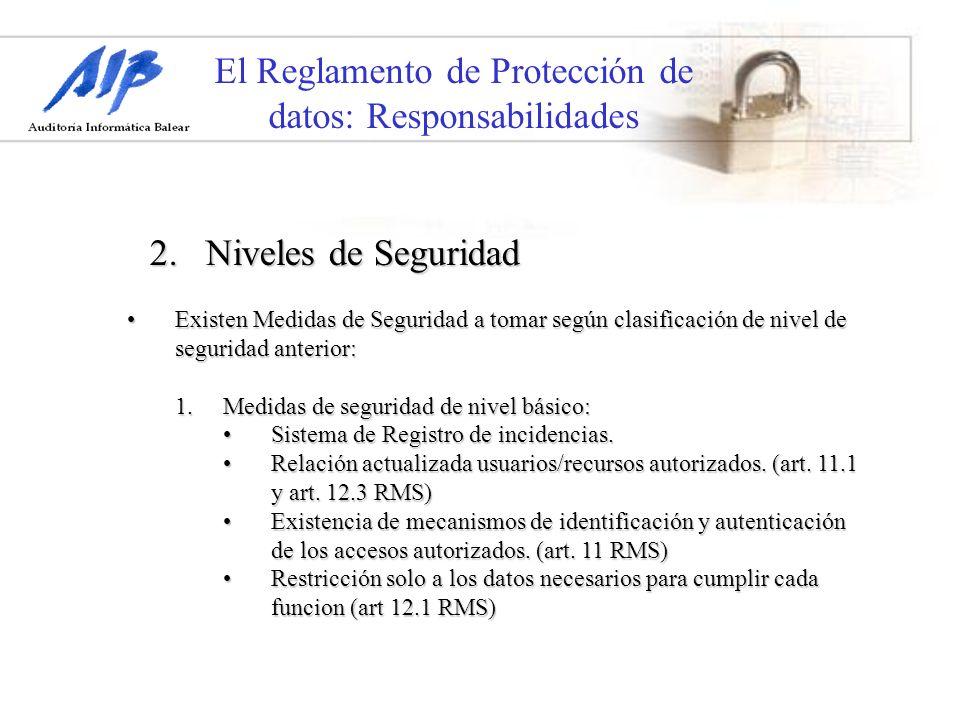 El Reglamento de Protección de datos: Responsabilidades Existen Medidas de Seguridad a tomar según clasificación de nivel de seguridad anterior:Existe