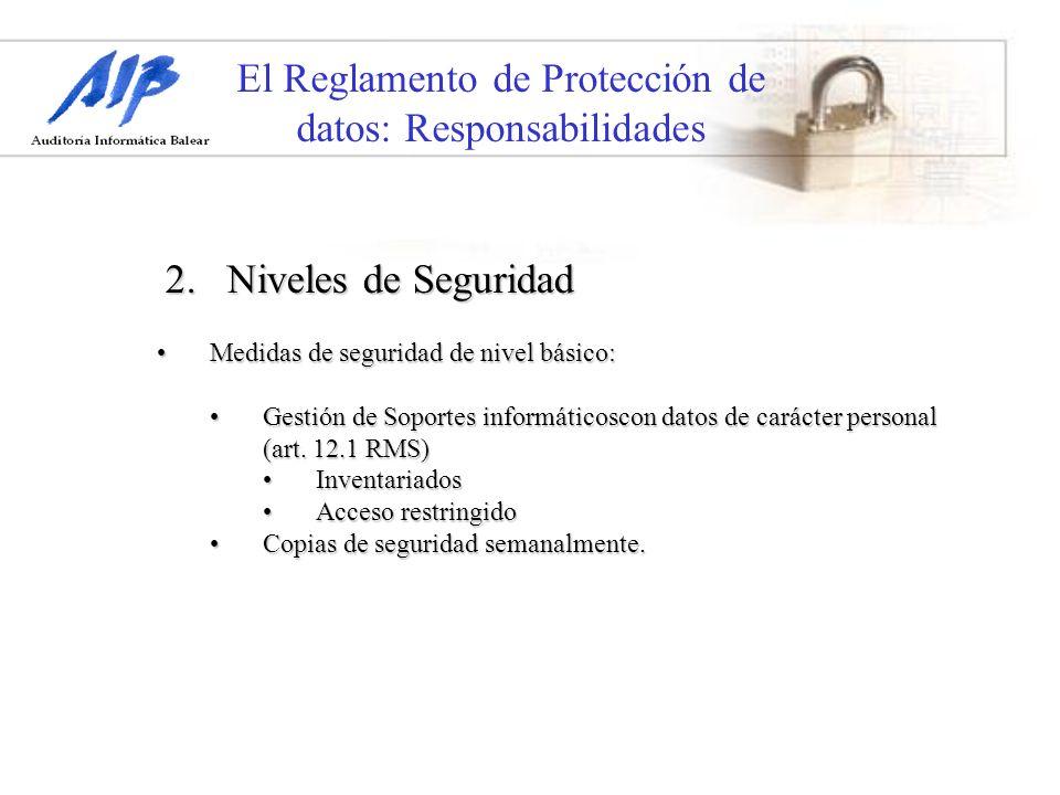 El Reglamento de Protección de datos: Responsabilidades Medidas de seguridad de nivel básico:Medidas de seguridad de nivel básico: Gestión de Soportes
