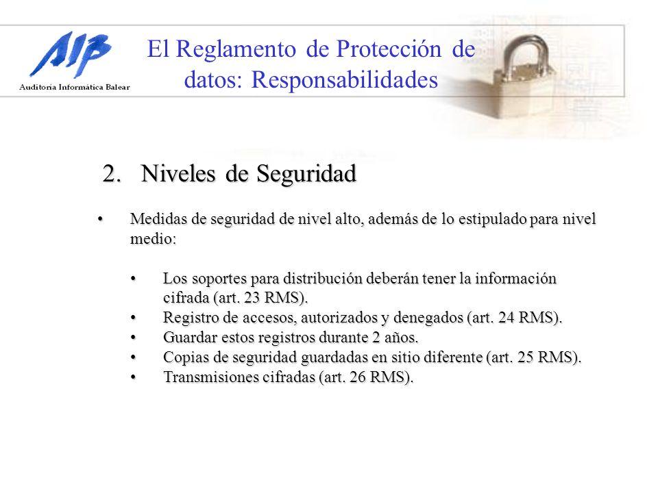 El Reglamento de Protección de datos: Responsabilidades Medidas de seguridad de nivel alto, además de lo estipulado para nivel medio:Medidas de seguri