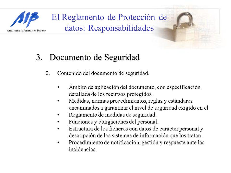 El Reglamento de Protección de datos: Responsabilidades 3. Documento de Seguridad 2.Contenido del documento de seguridad. Ámbito de aplicación del doc